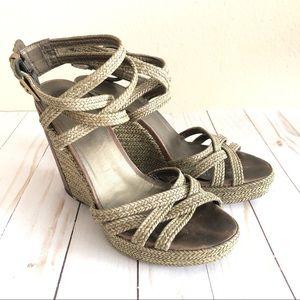 Stuart Weitzman Espadrille Platform Wedge Sandals